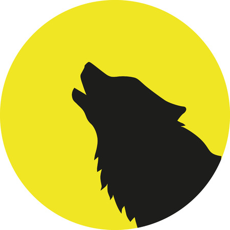 howl: Wolf head in front of a yellow moon