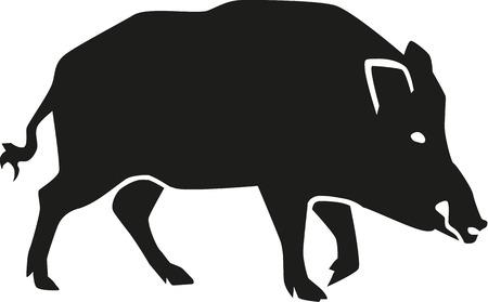 jabali: Silueta Cerdo salvaje con la cara