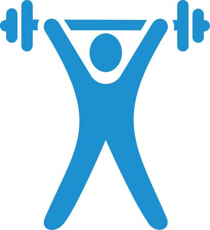 Light blue weight lifting Ilustração