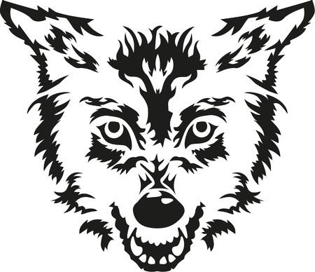 howl: Angry wolf head