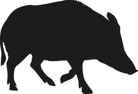 Wild pig silhouette Stock Vector - 47354934