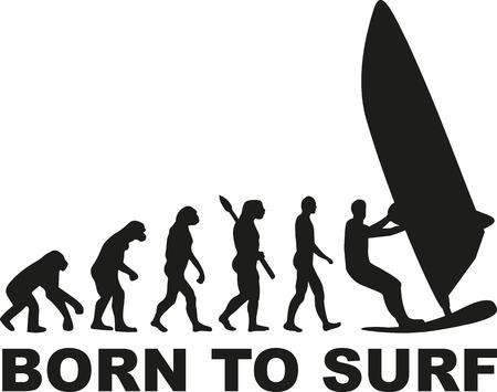 Born to surfer évolution planche à voile Vecteurs