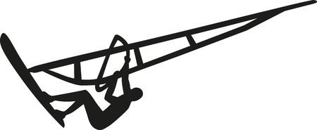 windsurf: salto de windsurf Vectores