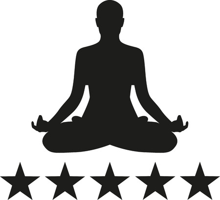 Yoga silhouette with five stars