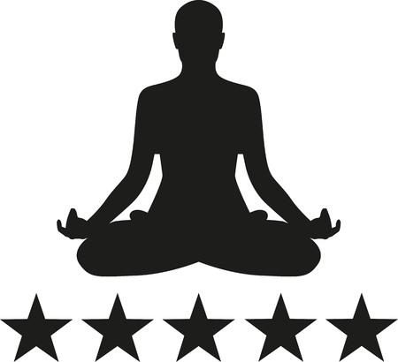 Yoga silhouette con cinque stelle Archivio Fotografico - 47421544