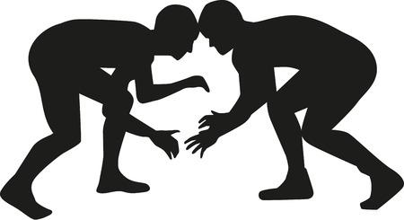 Wrestler fighting Illustration