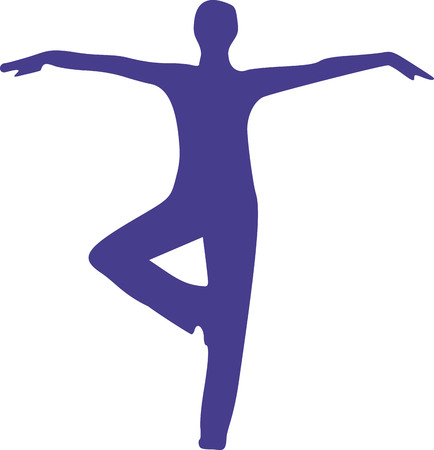 stretching: Yoga silhouette standing