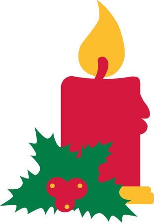 christmas candle: Christmas candle with mistletoe Illustration