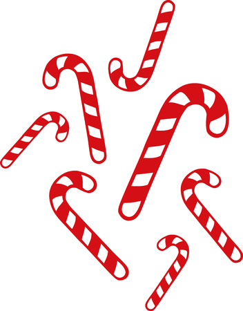 candy canes: Many christmas candy canes Illustration
