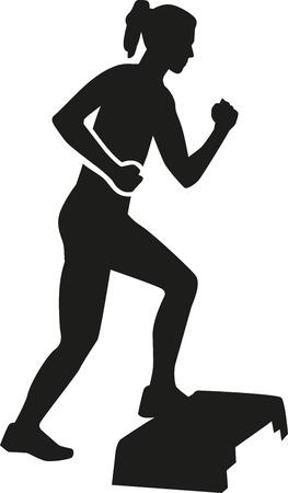 aerobic: Woman aerobic exercise step