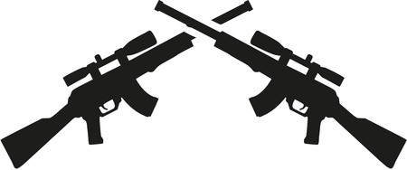 pictogram people: Crossed airsoft gun