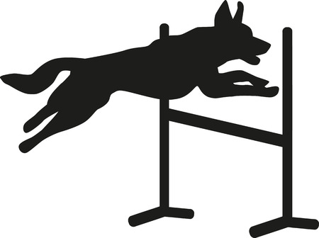 Dog agility jumping over hurdle Stock Illustratie