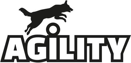 agility: Agility word with jumping dog Illustration