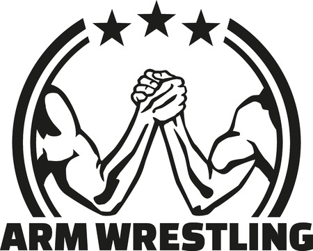 wrestle: Arm wrestling lable with word Illustration