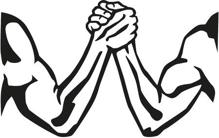 アーム レスリングのシルエット  イラスト・ベクター素材