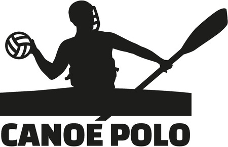 polo player: Canoe polo player with word