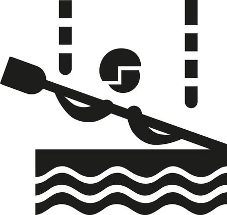 slalom: Canoe slalom icon Illustration