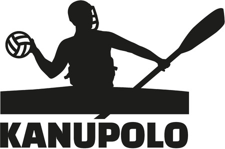 polo player: Canoe polo player with german word Illustration