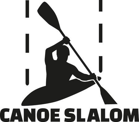 slalom: Canoe slalom silhouette with word