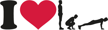position d amour: I love burpees silhouette
