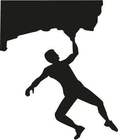 bouldering: Man bouldering at rock Illustration