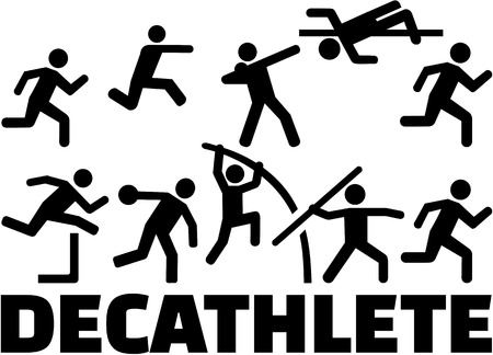 pentathlon: Decathlon pictogram set Illustration