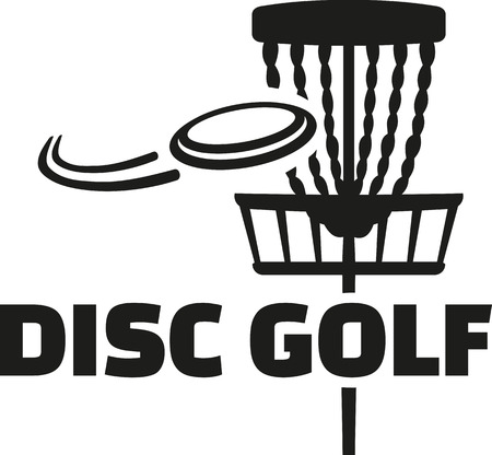 Disc golf with basket and flying disc 일러스트
