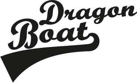 Dragon Boat Word Retro Vector
