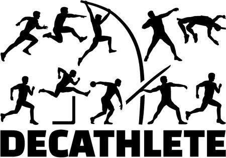 陸上競技の十種競技シルエット