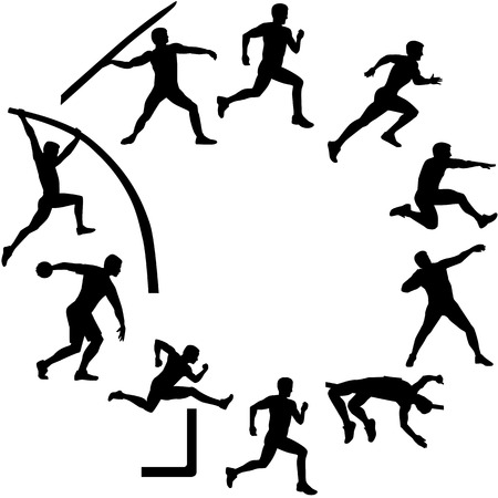 Decathlon silhouettes in circle shape Vectores