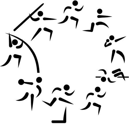 decathlon: Decathlon symbols arranged in a circle Illustration