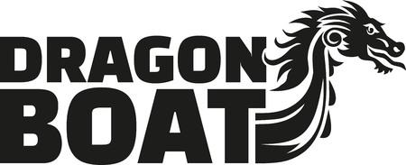 barche: parola dragon boat con testa di drago