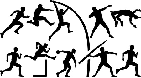 pentathlon: Athletics set decathlon Illustration
