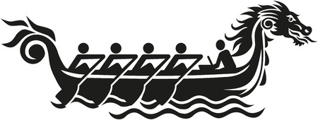 bateau de course: Dragon icône de course de bateaux Illustration