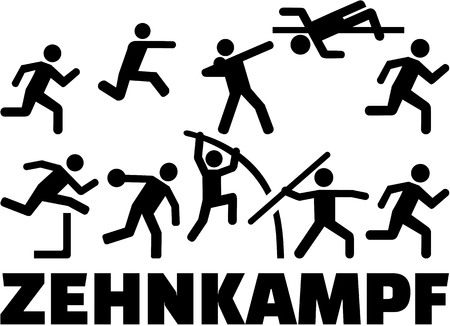 pentathlon: Decathlon pictogram set german