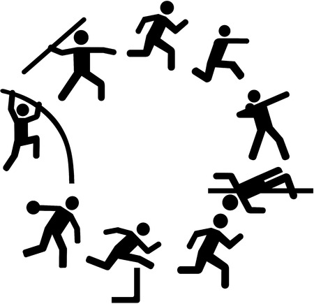 pentathlon: Decathlon icons arranged in a circle Illustration