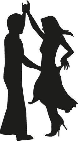 poise: Silhouette of happy couple dancing