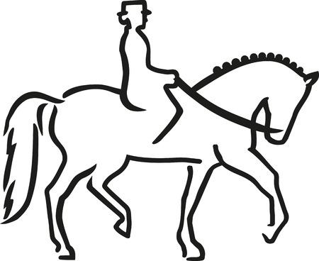 Dressurpferd mit Reiter caligraphy