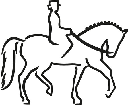 Dressage horse with rider caligraphy