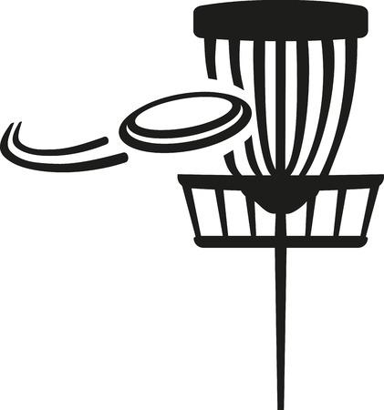 Disc golf mandje met vliegende schijf