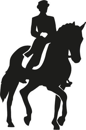 ciclista silueta: Jinete montado en un caballo de doma