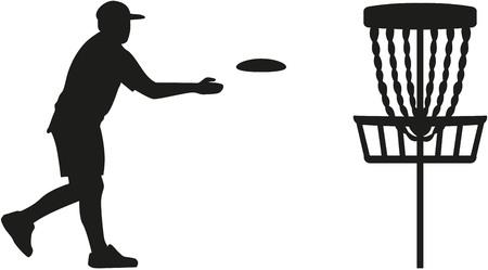 バスケットにディスクを投げるディスク ゴルフ プレーヤー