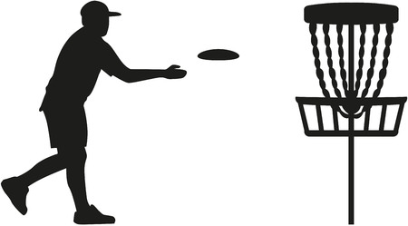 Disc golf player throwing a disc in the basket 版權商用圖片 - 49616128