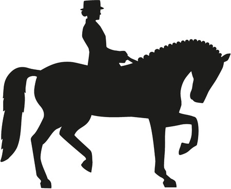 dressage: Silhouette of dressage horse and rider