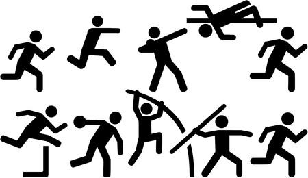 Athletics icon set decathlon Ilustrace