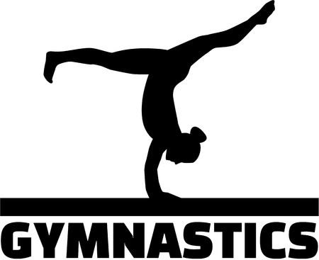 Gymnastiek woord met turner op evenwichtsbalk Stock Illustratie