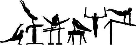 Compétition de gymnastique avec six événements Banque d'images - 49616115
