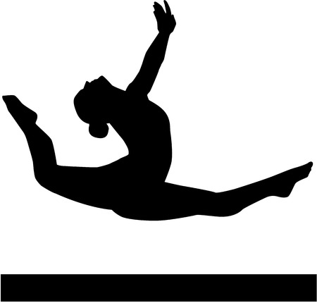 beam: Woman jumping on balance beam