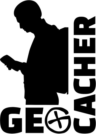 geocache: Geocacher word with icon and man