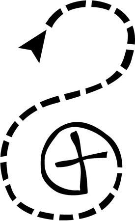 geocaching: Geocaching track to goal cross